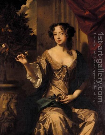 Portrait Of Lady Elizabeth Jones, Later Countess Of Kildare (1665-1758) by (after) Sir Peter Lely - Reproduction Oil Painting