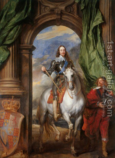 Equestrian Portrait Of King Charles I Accompanied By Monsieur De St. Antoine by (after) Dyck, Sir Anthony van - Reproduction Oil Painting