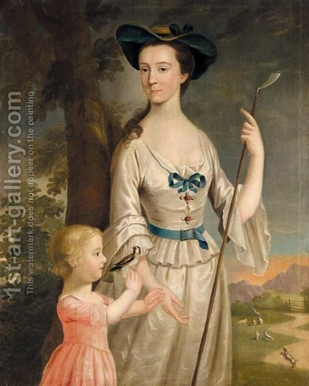 Portrait Of A Lady And Her Child by (after) John Lewis - Reproduction Oil Painting