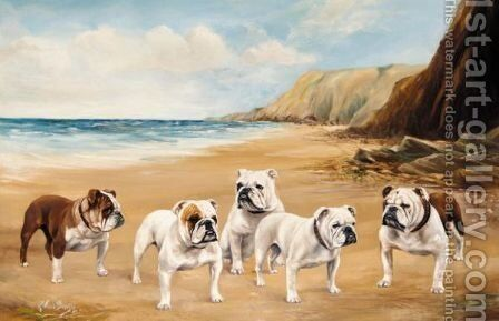 Bulldogs On The Beach by Binks, R. Ward - Reproduction Oil Painting