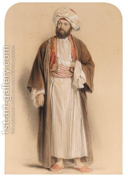 Portrait Of A Gentleman In Middle Eastern Dress by Sir John Gilbert - Reproduction Oil Painting