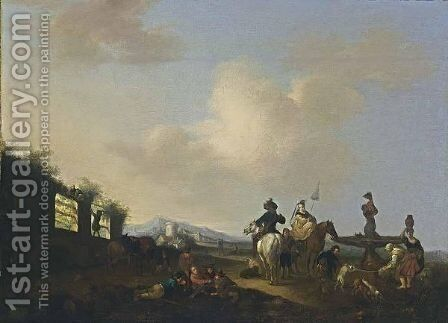 A Landscape With Horsemen, Figures And Dogs Gathered Around A Fountain, A Village In The Distance by (after) Carel Van Falens Or Valens - Reproduction Oil Painting