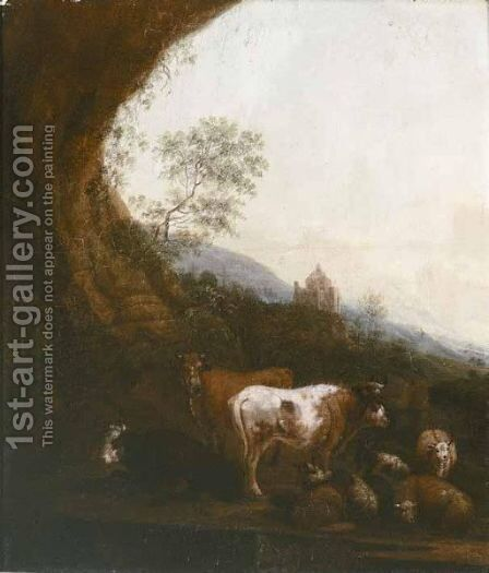 Landscape With Cows And Sheep by (after) Johann Heinrich Roos - Reproduction Oil Painting