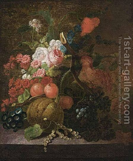 A Still Life Of Roses, Grapes, Berries, Peaches And A Pumpkin On A Marble Ledge by Dutch School - Reproduction Oil Painting