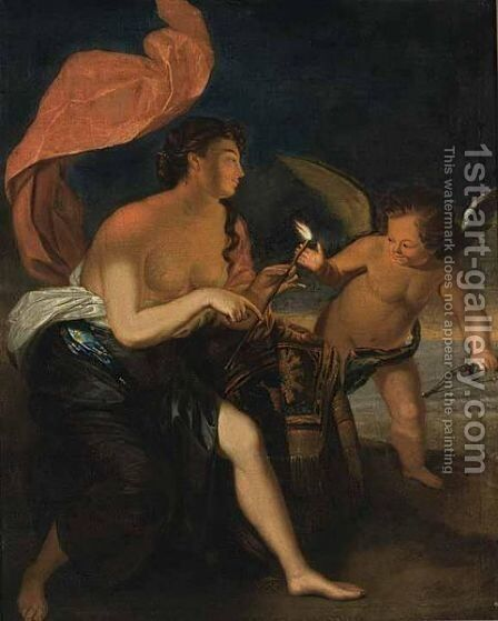 Venus Presenting A Burning Arrow To Cupid by (after) Godfried Schalcken - Reproduction Oil Painting