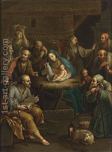 Adoration Of The Shepherds by (after) Januarius Zick - Reproduction Oil Painting