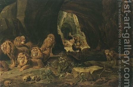 Daniel In The Lions Den by Antwerp School - Reproduction Oil Painting