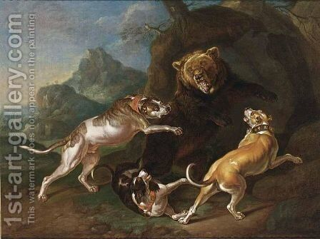 A Hunting Scene With Dogs Bringing Down A Bear by (after) Ferdinand Phillip De Hamilton - Reproduction Oil Painting
