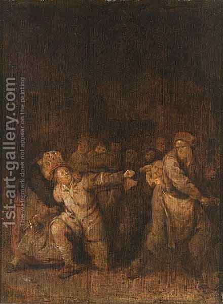 A Fight In A Tavern by Jan Miense Molenaer - Reproduction Oil Painting