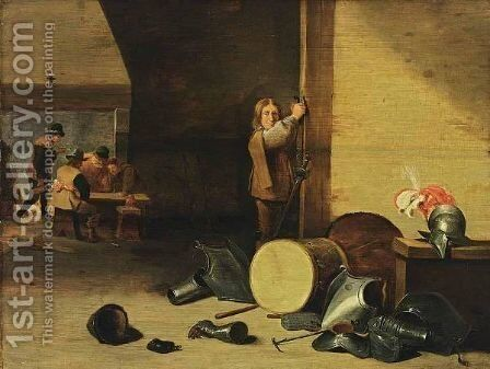 An Interior With A Soldier Laying Off His Sword And Figures Drinking, Smoking And Playing Dice Near A Fire Place, With A Still Life Of Soldiers Garments by (after)  David The Younger Teniers - Reproduction Oil Painting