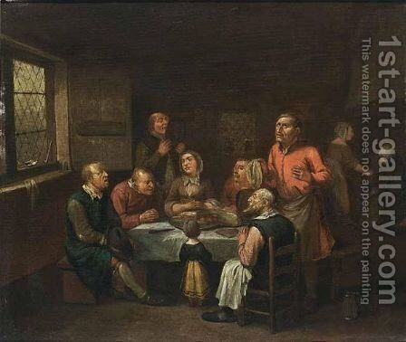 A Family Praying At A Table In An Interior by Egbert van, the Younger Heemskerck - Reproduction Oil Painting