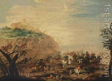 A Cavalry Battle Scene 2 by (after) Karel Breydel - Reproduction Oil Painting