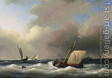 Shipping Off The Shore In High Winds by Abraham Hulk Jun. - Reproduction Oil Painting