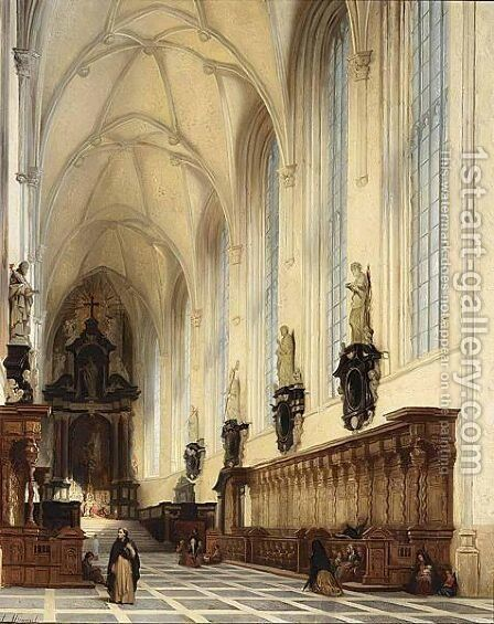 The Interior Of The Pauluskerk, Antwepen by Andre Joseph Minguet - Reproduction Oil Painting