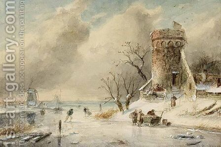 A Winter Landscape With Skaters On The Ice 2 by Charles Henri Leickert - Reproduction Oil Painting