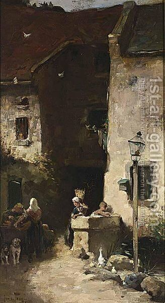 A Streetscene by Jan De Jong - Reproduction Oil Painting