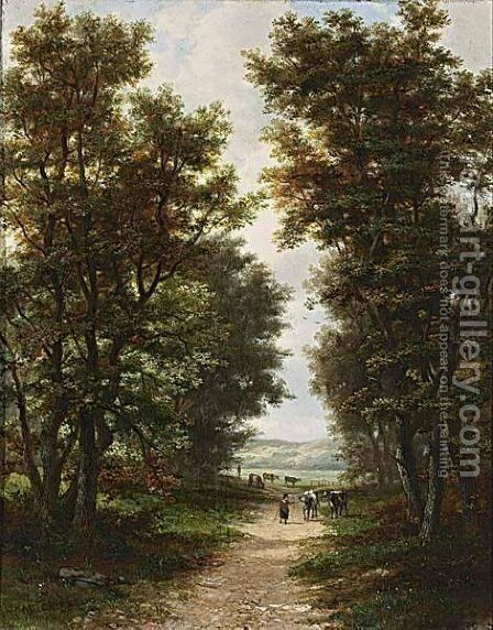 A Landscape With A Peasant Woman On A Country Road by Jan Hermanus Melcher Tilmes - Reproduction Oil Painting