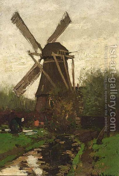 A Peasant Woman Near A Windmill by Cornelis Kuypers - Reproduction Oil Painting