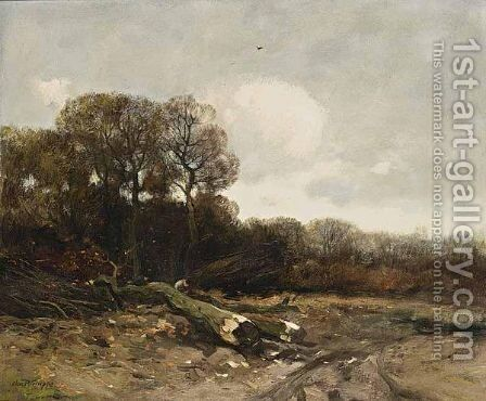 Woodcutters At Work by Charles Paul Gruppe - Reproduction Oil Painting