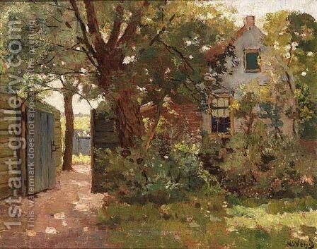 A Farm In A Summer A Landscape by Jan Harm Weijns - Reproduction Oil Painting