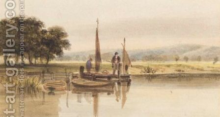 Fisherman On The Jetty by (after) George (Sydney) Shepherd - Reproduction Oil Painting