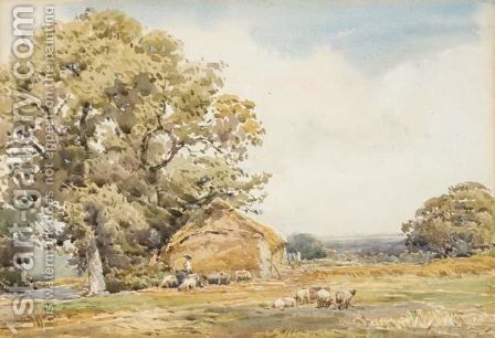 The Shepherd And His Flock by Claude Hayes - Reproduction Oil Painting