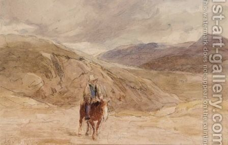 A Traveller On Horseback by David Cox - Reproduction Oil Painting