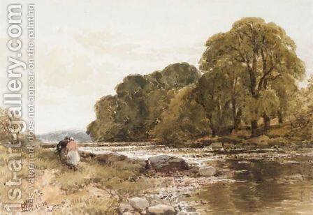 Figures By A River by Edmund Morison Wimperis - Reproduction Oil Painting