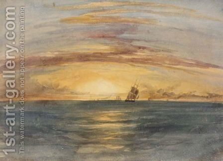 Shipping At Sunset On The Indian Ocean by Andrew Nicholl - Reproduction Oil Painting