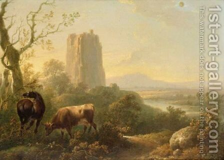 Cattle And Horse Grazing In A Valley Landscape by (after) Charles Towne - Reproduction Oil Painting