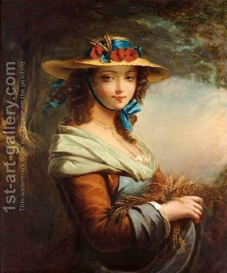 Girl With Corn Stalks by (after) James John Hill - Reproduction Oil Painting
