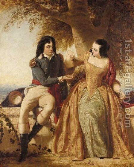 A Lady And Gentleman Seated Under A Tree, Said To Be The Count And Countess Rapp by Charles Lucy - Reproduction Oil Painting