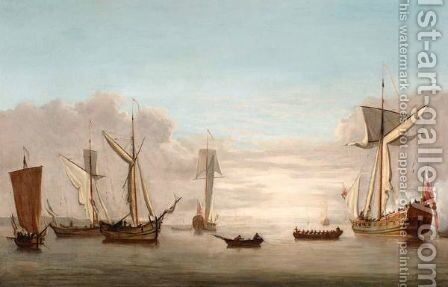 Third Raters At Anchor With Surrounding Shipping by (after) Peter Monamy - Reproduction Oil Painting