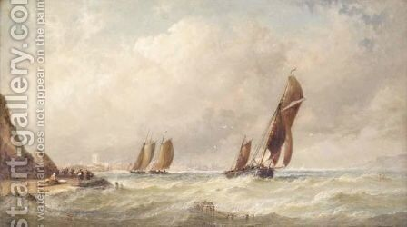 Shipping In Stormy Seas by Arthur Joseph Meadows - Reproduction Oil Painting