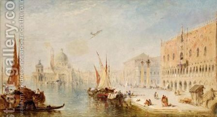 View From The Riva Degli Schiavoni Towards The Grand Canal by (after) William Meadows - Reproduction Oil Painting