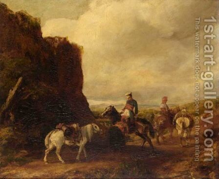 Horsemen In A Landscape by (after) Eugene Fromentin - Reproduction Oil Painting