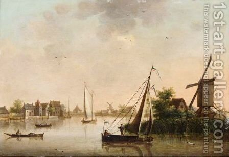Canal Landscape With Windmills by Dutch School - Reproduction Oil Painting