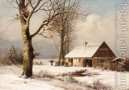 Frozen Pond by Anders Andersen-Lunsby - Reproduction Oil Painting