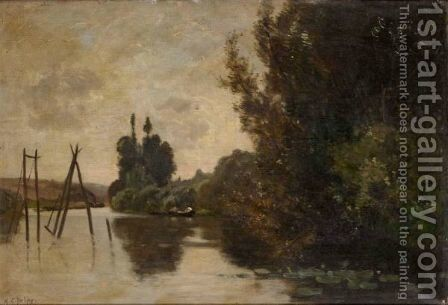 River Landscape At Sunset by (after) Hippolyte Camille Delpy - Reproduction Oil Painting