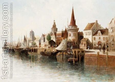 Harbour View by August von Siegen - Reproduction Oil Painting