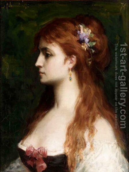 Portrait Of A Young Lady by Jacques Fernand Humbert - Reproduction Oil Painting