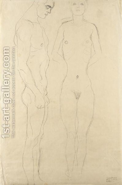Athlet Im Profil Nach Rechts, Frauenakt Von Vorne (Athlete In Profile Facing Right, Female Nude Seen From The Front) by Gustav Klimt - Reproduction Oil Painting