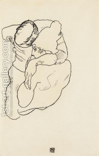 Mann Und Frau Umarmend (Man And Woman Embracing) by Egon Schiele - Reproduction Oil Painting