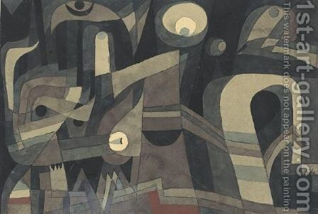 Nachts (Grun-Indischrot, Duster) At Night (Green-Indian Red, Gloomy) by Paul Klee - Reproduction Oil Painting