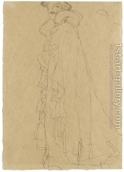 Stehend Nach Links, Skizze Des Kragens Von Hinten (Standing Turned To The Left, Sketch Of The Collar From Reverse) by Gustav Klimt - Reproduction Oil Painting