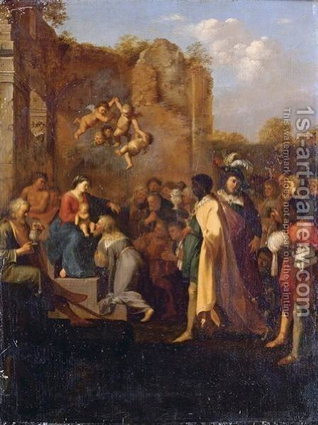 Adoration Of The Magi by Cornelis Van Poelenburch - Reproduction Oil Painting