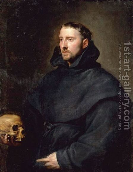 Portrait Of A Monk Of The Benedictine Order, Holding A Skull by (after) Dyck, Sir Anthony van - Reproduction Oil Painting