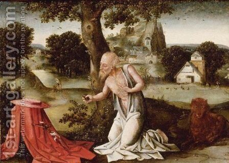Landscape With The Penitent Saint Jerome by (after) Joachim Patenier (Patinir) - Reproduction Oil Painting