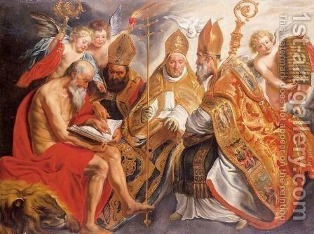 The Four Fathers Of The Latin Church by (after) Jacob Jordaens - Reproduction Oil Painting