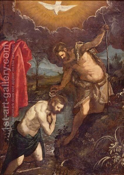 The Baptism Of Christ by (after) Domenico Tintoretto (Robusti) - Reproduction Oil Painting